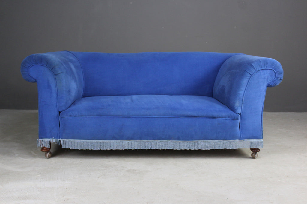 antique blue chesterfield small sofa settee