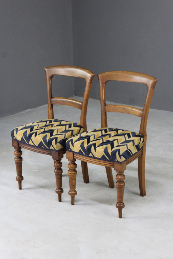 pair antique victorian walnut dining chairs art deco fabric