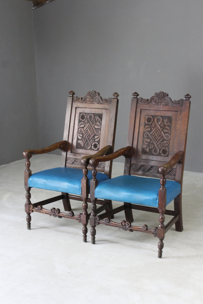 pair 1920s oak carolean style open armchairs carvers