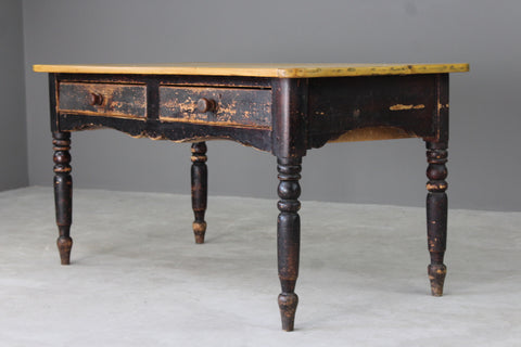 Antique Rustic Pine Kitchen Table - Kernow Furniture