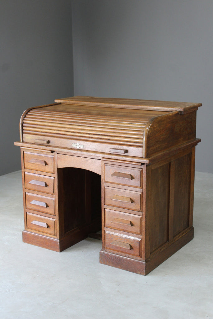 Oak Tambour Roll Top Desk - Kernow Furniture