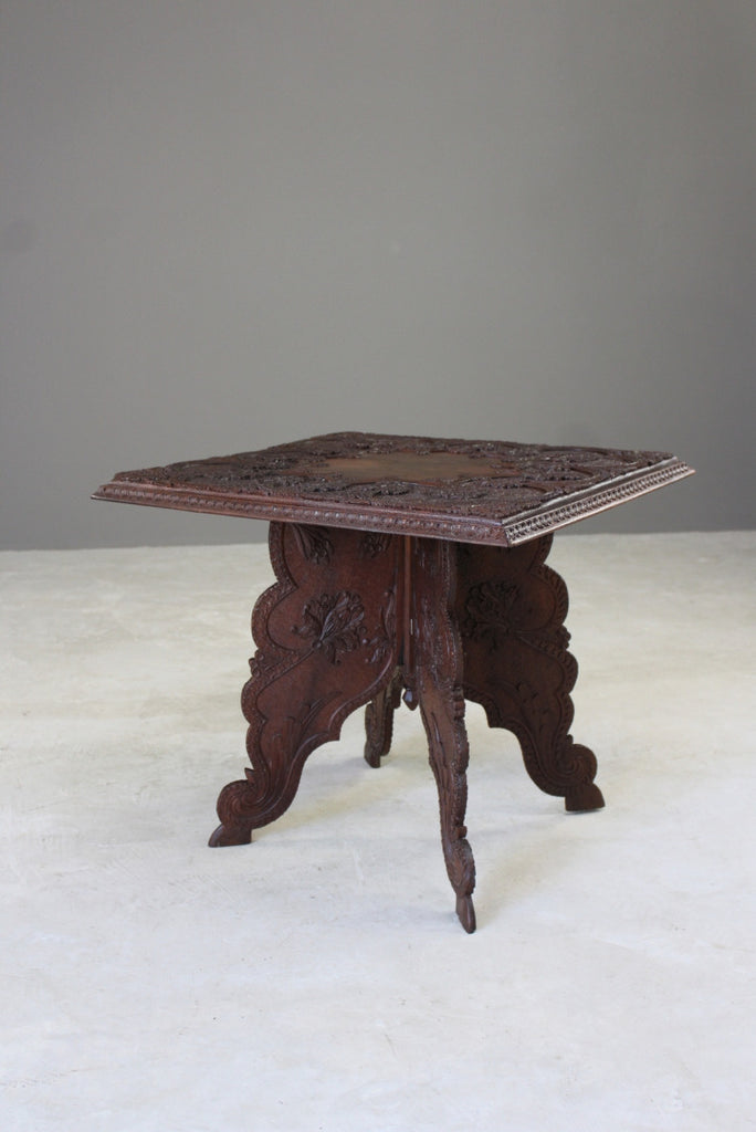 Carved Teak Indian Side Table - Kernow Furniture