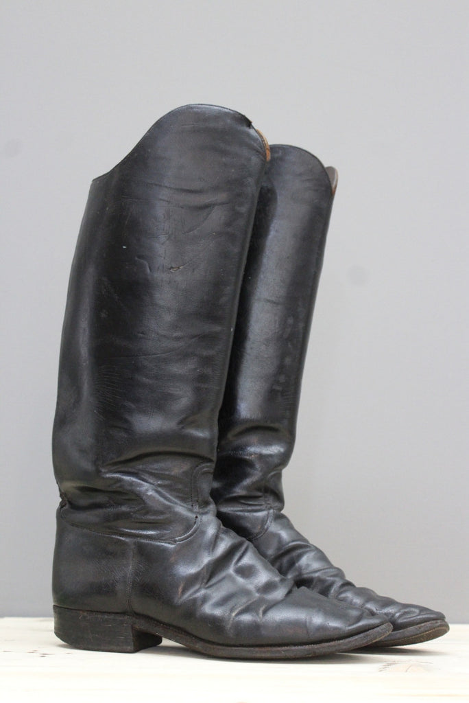 Mens Black Leather Military Dress Boots - Kernow Furniture