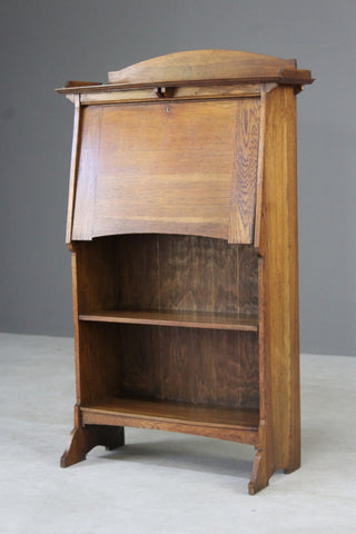Arts & Crafts Oak Students Bureau Bookcase - Kernow Furniture
