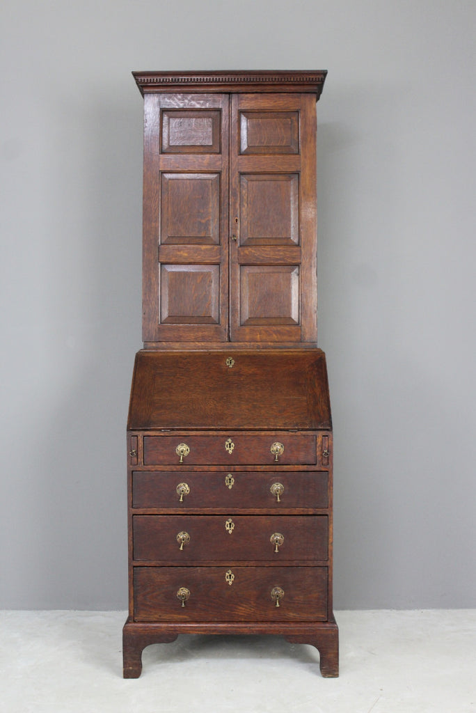 Antique Oak Bureau Bookcase - Kernow Furniture