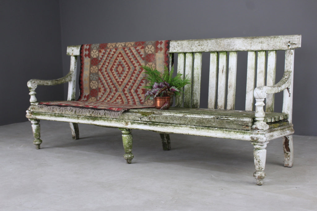Large Antique Painted Pine Garden Bench Hall Kitchen