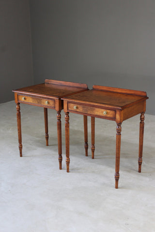 Pair Sheraton Style Burr Walnut Side Tables - Kernow Furniture