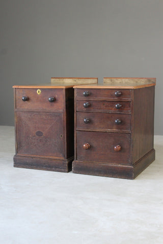 Pair Antique Oak Pedestals