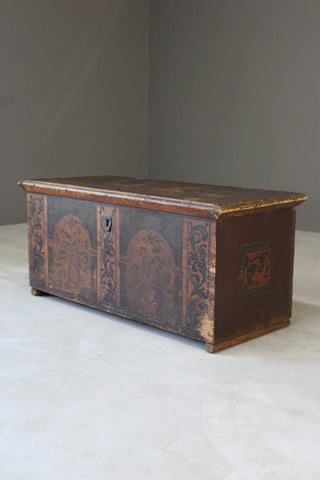 Antique Italian Painted Pine Trunk
