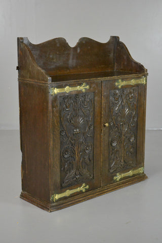 Art Nouveau Oak Wall Cupboard - Kernow Furniture 100s vintage, retro & antique items in stock