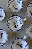 8 Blue & White China Cups