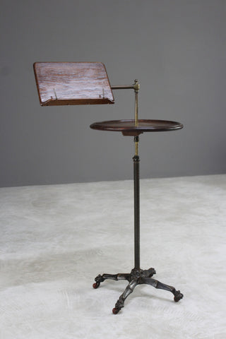 Antique Oak Reading Stand Side Table - Kernow Furniture