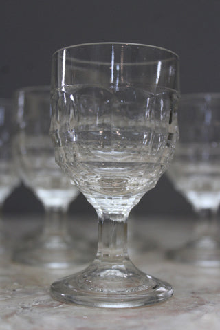 6 Vintage Moulded Liquer Glasses