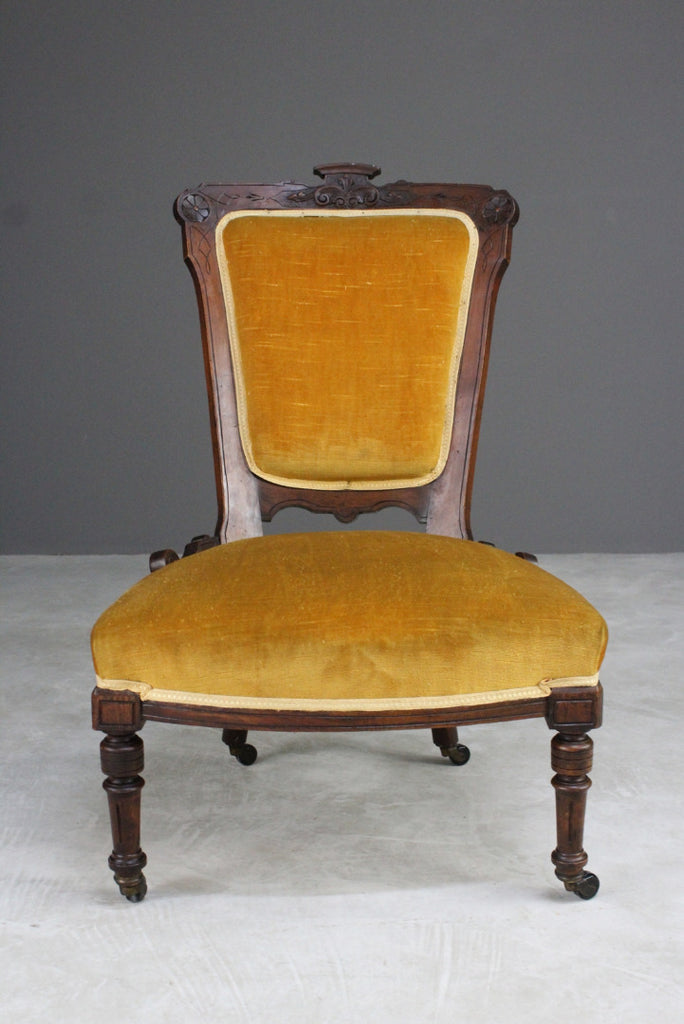 Late Victorian Upholstered Nursing Chair - Kernow Furniture