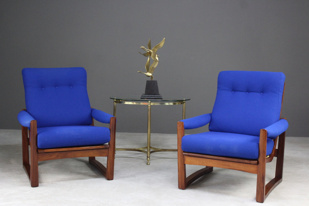 Pair Retro Guy Rogers Virginia Teak Armchairs