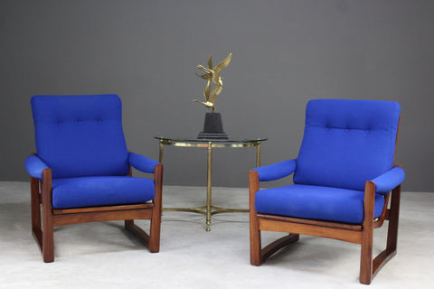 Pair Retro Guy Rogers Virginia Teak Armchairs - Kernow Furniture