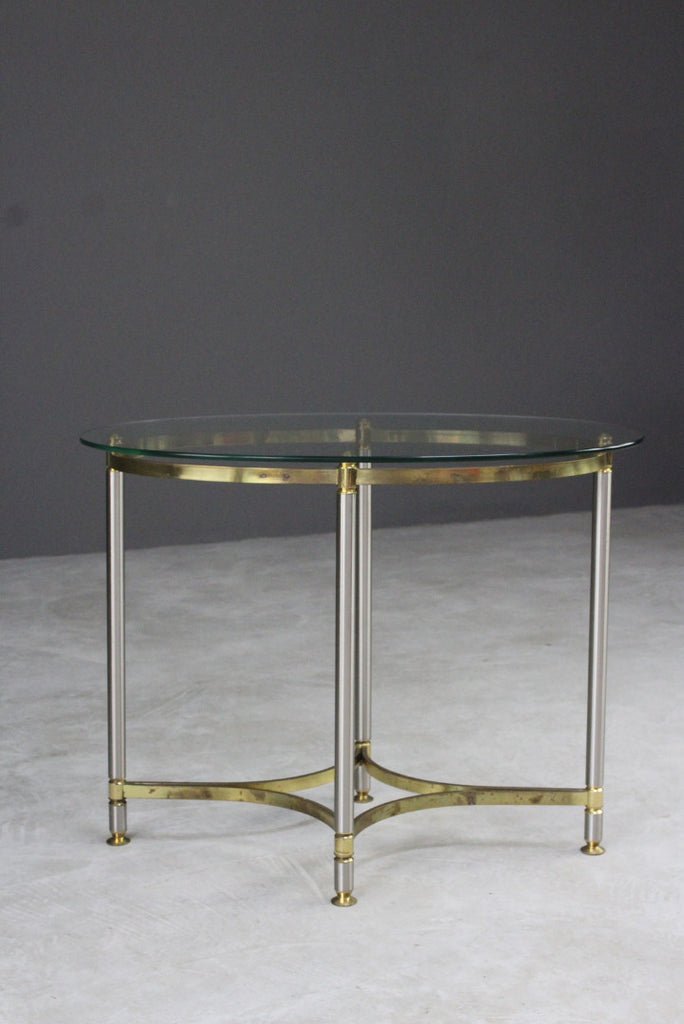 Brass & Glass Oval Side Table