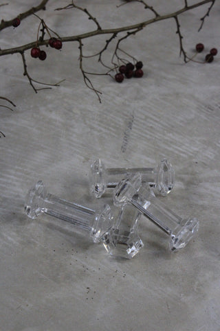 4 Antique Glass Spoon / Knife Rest