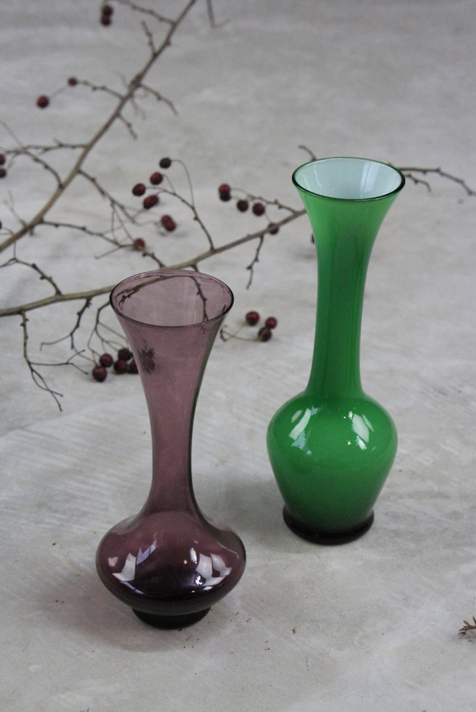 Pair Coloured Glass Vase