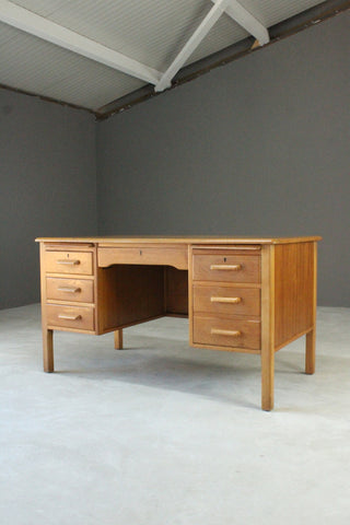 Vintage Oak Desk - Kernow Furniture