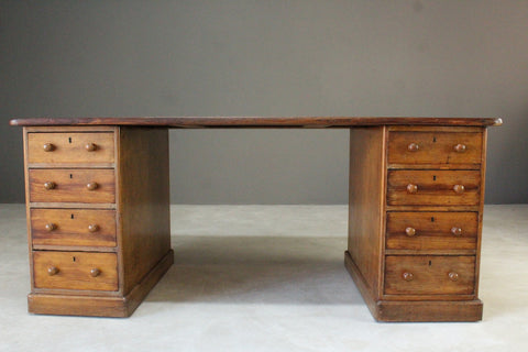 Large Antique Victorian Twin Pedestal Desk - Kernow Furniture