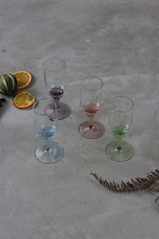4 Coloured Glass Sherry Licqueur Glasses
