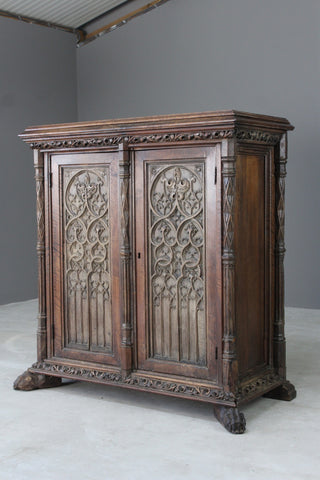 Oak & Walnut French Gothic Cupboard