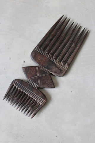Double Ended Wooden African Comb