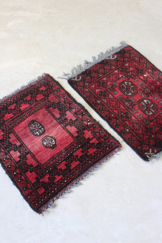 Pair Afghan Red Prayer Mats