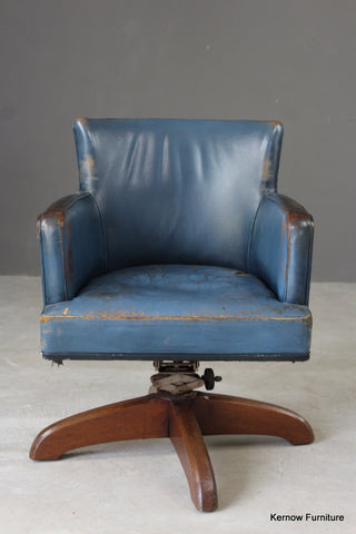 Early 20th Century Blue Leather Office Swivel Chair