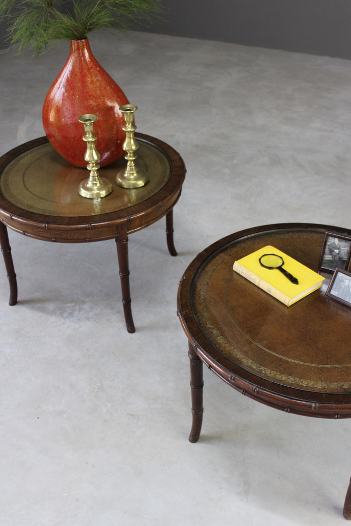 Pair Antique Style Round Coffee Tables