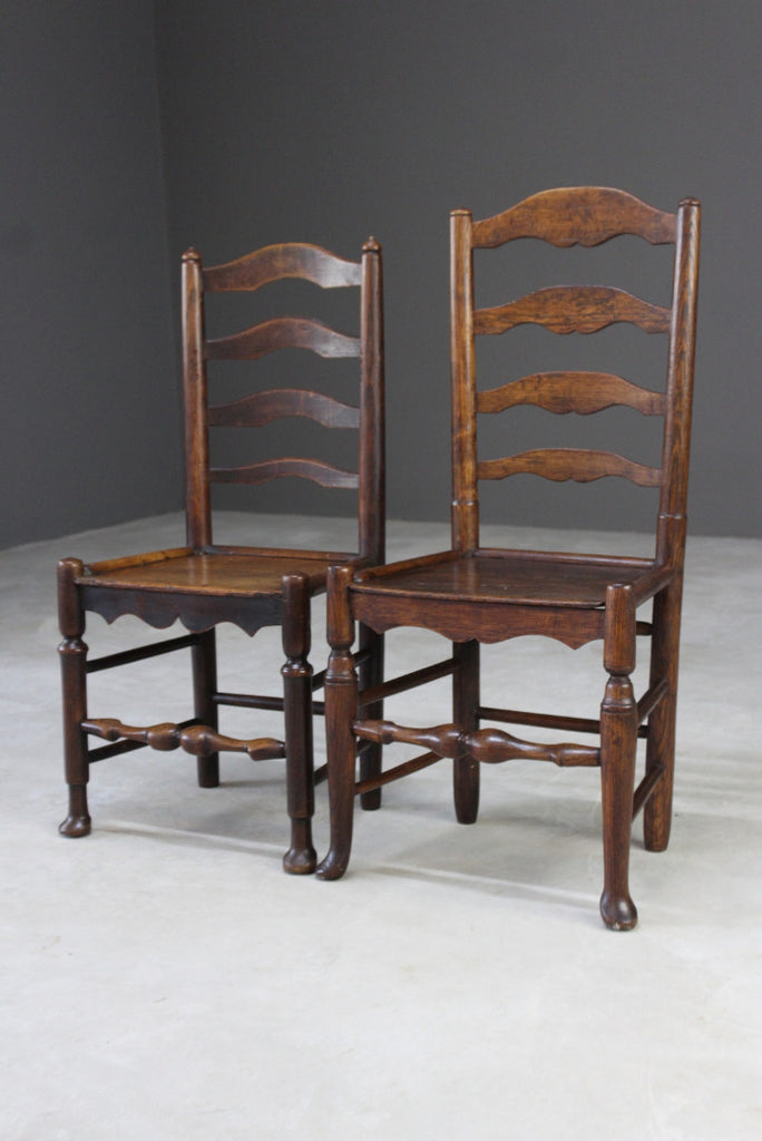 Pair Vernacular Ladderback Chairs
