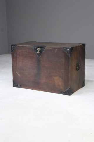 Antique Oak Metal Bound Chest