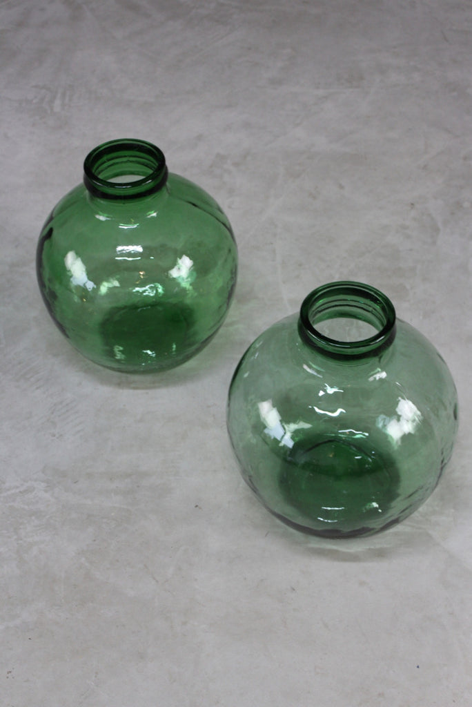 Pair Green French Viresa Carboy Bottle