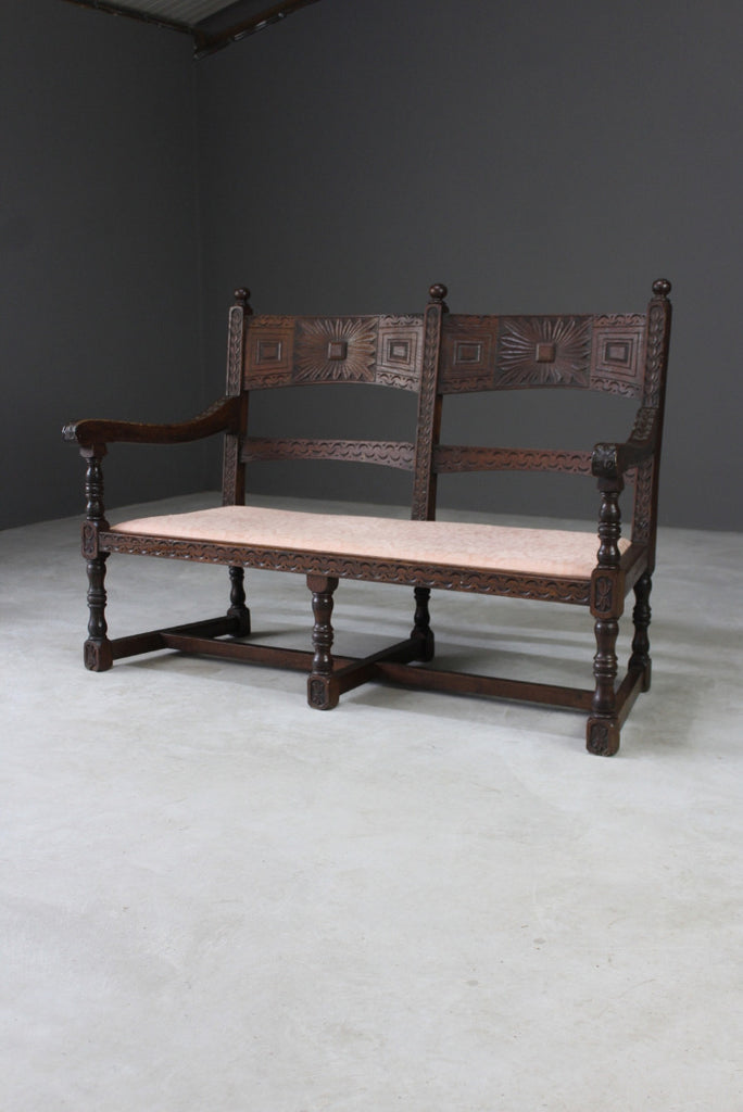 Antique Oak Bench - Kernow Furniture