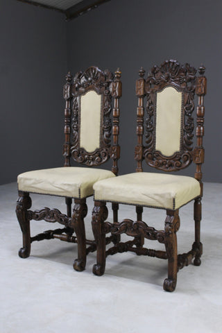 Pair Antique Victorian Carved Side Chairs