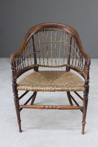 Antique Walnut Rustic Cane Chair