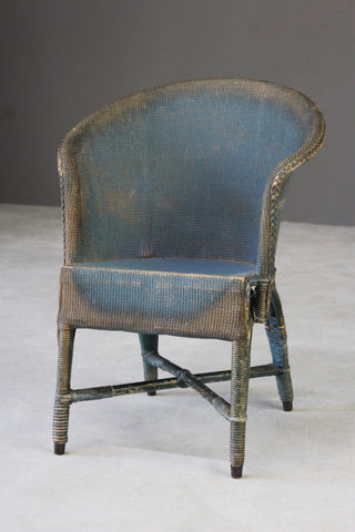 Vintage Blue Wicker Bedroom Chair
