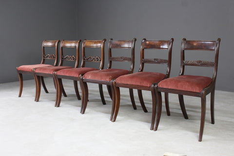 Set 6 Antique Bar Back Dining Chairs