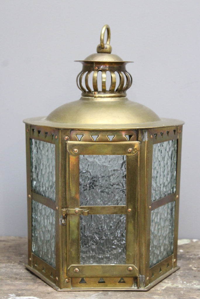 Brass Hanging Porch Light Lantern - Kernow Furniture