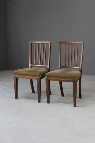 Pair Antique Georgian Oak Dining Chairs