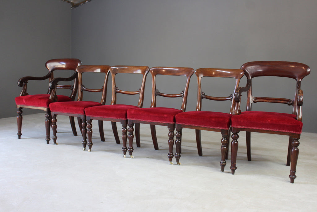 Set 6 Antique Mahogany Dining Chairs - Kernow Furniture