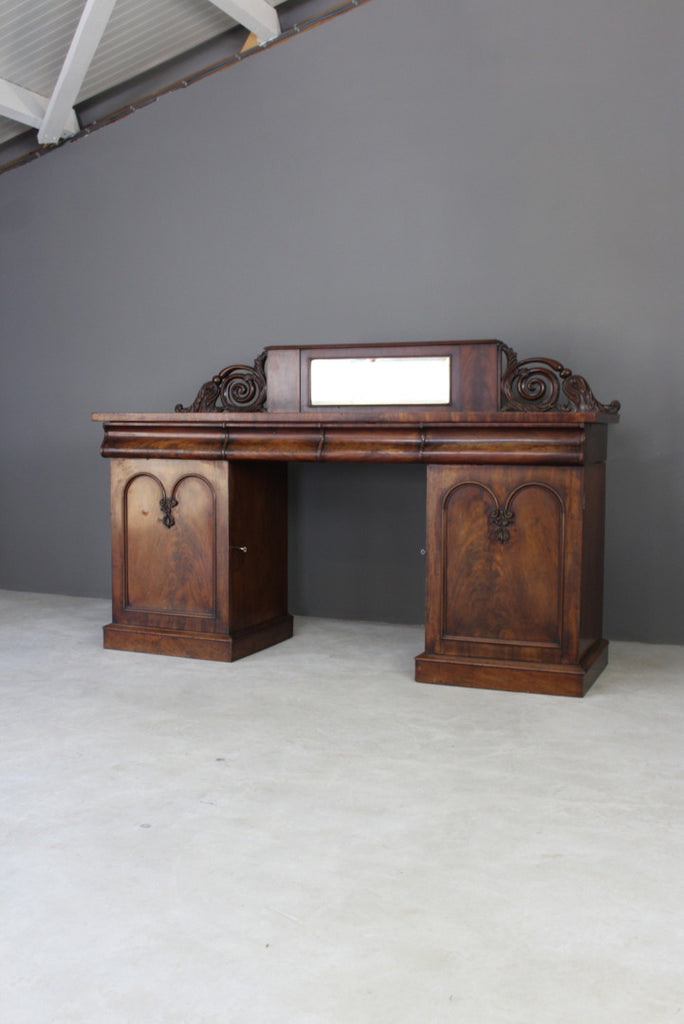 Antique Victorian Mahogany Twin Pedestal Sideboard - Kernow Furniture