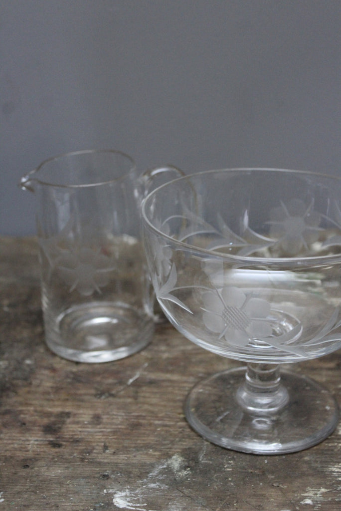 Vintage Etched Glass Jug & Stemmed Bowl