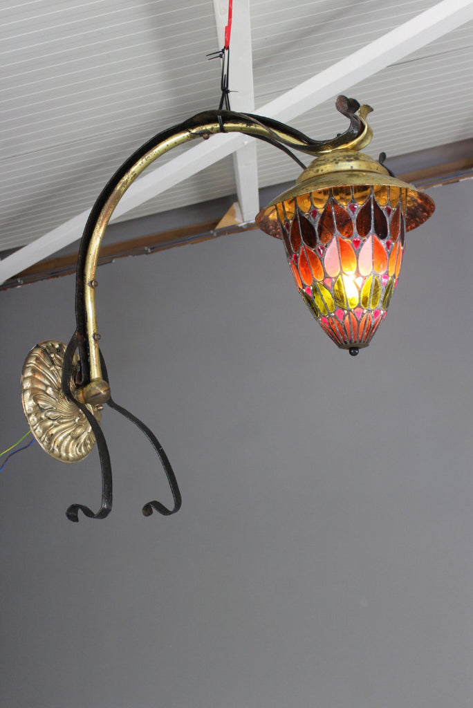 Antique Stained Glass Art Nouveau Style Wall Light