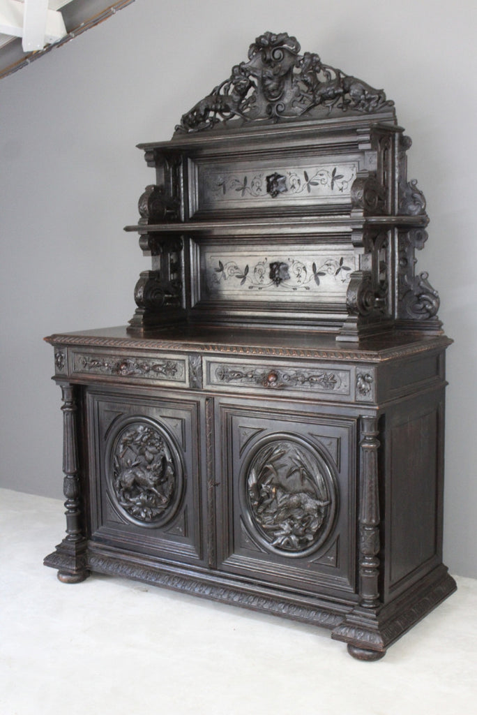 Antique Carved French Hunt Cabinet - Kernow Furniture