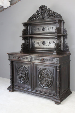 Antique Carved French Hunt Cabinet