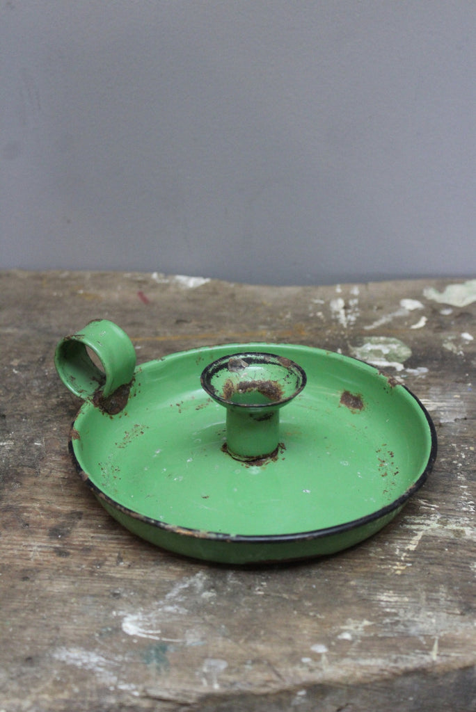 Vintage Green Enamel Candle Holder