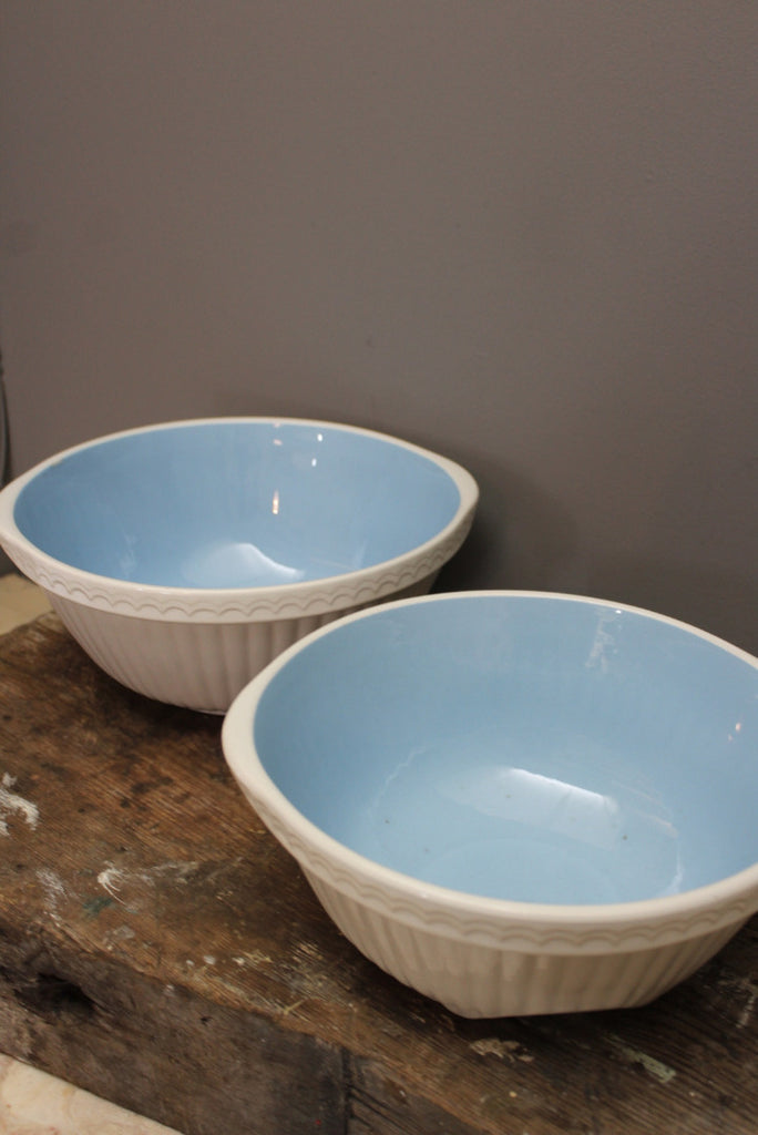 Pair Blue & White Vintage T G Green Mixing Bowls
