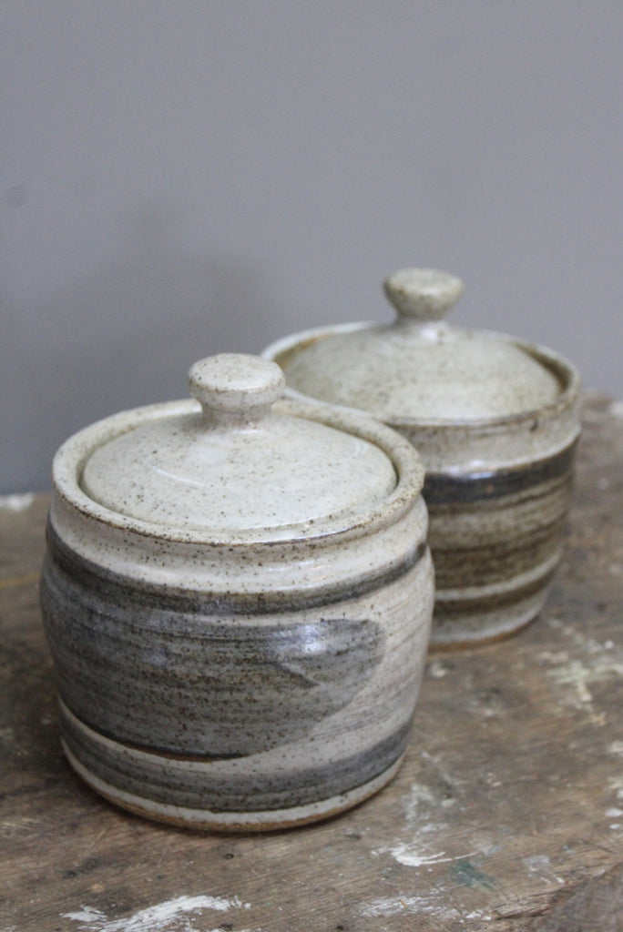 Pair Pottery Kitchen Jars